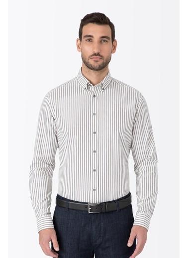 Hemington Çizgili Gömlek Beyaz
